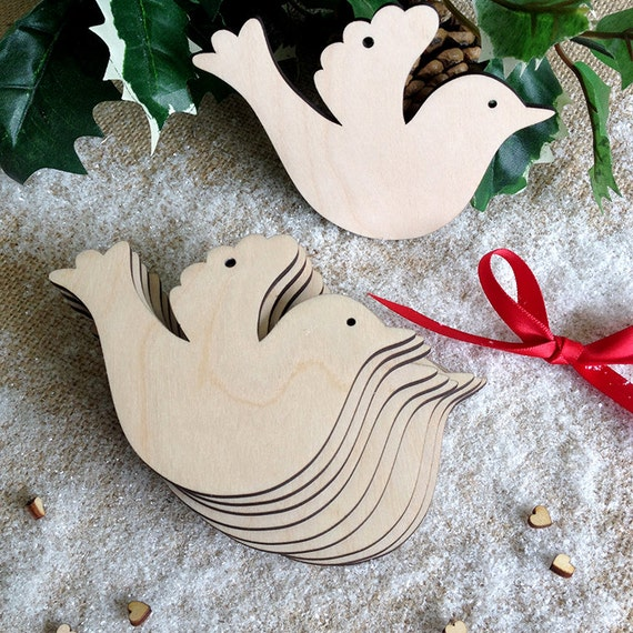 Christmas Tree Doves: Wooden Dove For Wedding Wish Tree Or Christmas Decoration