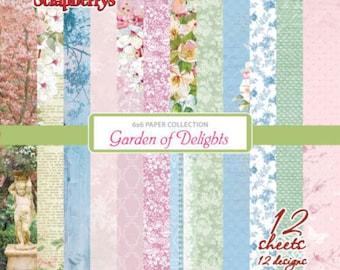Scrapbooking paper pad 15 cm 6x6  Garden of delights Scrapberry's spring flowers garden