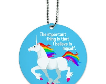 Unicorn the important thing is that i believe in myself round luggage id tag card suitcase carry-on