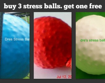 three stress balls. and get one stress ball free