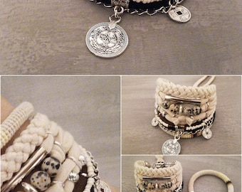 Bohemian Bracelet Dalmatian Jasper Beaded Bracelet Gypsy Style Kuchi Coin Charm Bracelet Dalmatian Jewelry