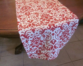 Red and White Damask Table Runner, Wedding, Bridal Shower, Baby Shower, Graduation
