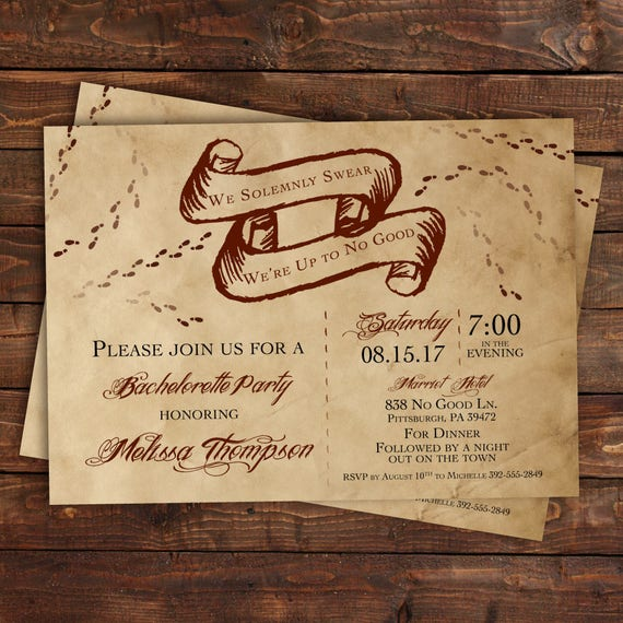 Harry Potter Bachelorette Party Invitation Bridal Shower