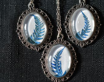 Blue Fern Frond Victorian Pendant Necklace