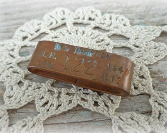 vintage 1949 dog license tag vintage brass dog tax tag from new hampton, new hampshire with number 122 steampunk jewelry art supply tag