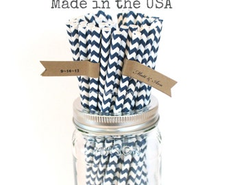 Navy Blue Paper Straws, 100 Navy Chevron Striped Straws, Made in USA, Wedding Table Setting, Baby Shower, Rustic, Vintage, Party Supplies