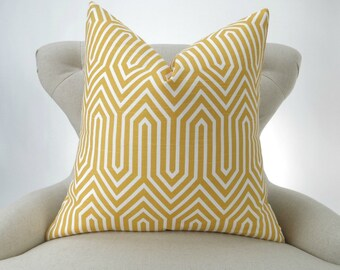 Throw Pillow Cover, Accent Pillow, Decorative Throw, Cushion Cover, Geometric Pillow -MANY SIZES- Trail Corn Yellow, Premier Prints