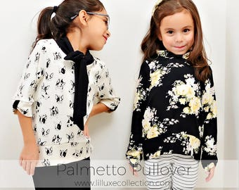 Palmetto Pullover modern knit sewing pattern cowl bow neck or ties