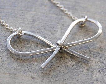 Silver Bow Necklace - Bow Pendant Necklace - Sterling Silver Pendant Necklace - Childrens Necklace - Dainty Necklace - Ribbon Necklace
