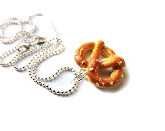 Oktoberfest Pretzel Pendant Charm, Pretzel Necklace, Miniature Food Jewelry, Polymer Clay Food Charm, Oktoberfest Jewelry