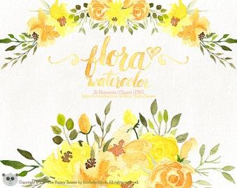 Watercolor Flora 01 Clipart, Flowers Clipart, Flower, Floral, Wreath, Bouquet, PNG, Clip Art, Watercolour, Yellow, Orange