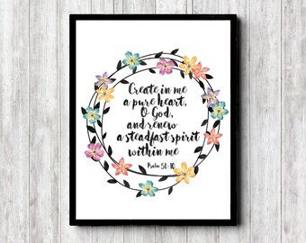 Psalm 51 : 10 Scripture Wall Art - Watercolor Wreath Girls Room /Nursery Print - Create In Me A Pure Heart Bible Verse - Christian Art