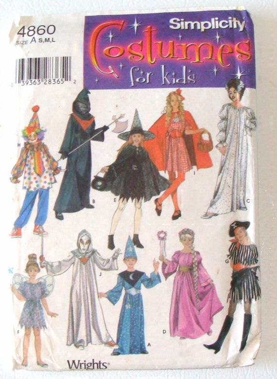 Simplicity Kids Costume Sewing Pattern 4860 - Pirate, Witch, Clown ...