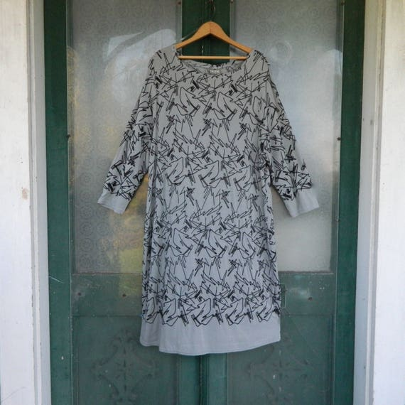 SALE - Niche Nilgun Derman Cable Car Dress -XXL- Gray Moon with Black Embroidery Viscose/Spandex NWT