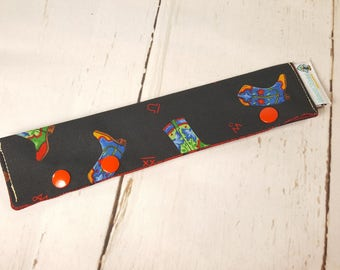 """Long Needle Cozy/DPN Holder - Colorful Cowboy Boots - project holder 9""""x2"""" - (Hold up to 8"""" Needles) NCL0025"""