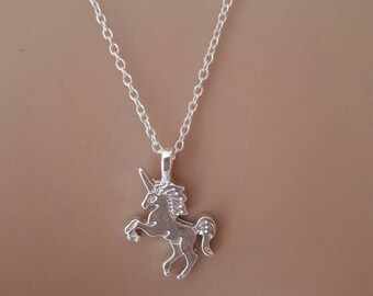 Unicorn charm necklace silver birthday present love