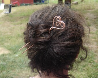 Celtic Heart Copper Hair Sticks, Metal Hair Fork, Shawl Pin, Hair Comb, Bun Holder Long Hair Accessories, Knitter Gift, Women Knitting