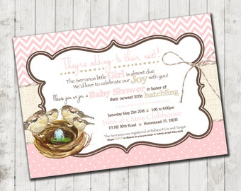 Baby Girl- Growing Family-Baby Shower Invitations- 25 printed