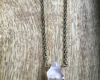Rose rough quartz necklace