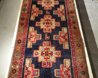 "Vintage Persian Rug Runner 1960's MESHKIN 3' 9"" x 10' 4"" Handmade, Hand-knotted, Natural Dyes, Bohemian, Boho Chic, Made in Iran 914m"