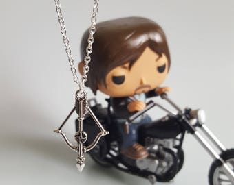 Crossbow Charm Necklace, Daryl Dixon, Walking Dead inspired, Zombie, Nerd Jewelry, TV Lover, Comic Con, Handmade Silver Charm Necklace