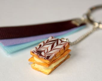 Thousand leaves realistic polymer clay keychain