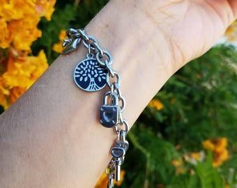 Heart / Lock & Key Charm Bracelet