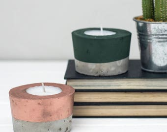 Concrete candle - Copper candle - Tea Light- Copper - Gift for her  - Tea light holder - Copper Decor - Wedding Decor - Concrete T Light