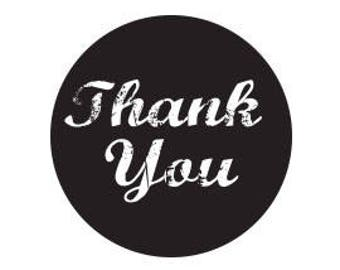 90 Black Thank You Stickers 2 Inch