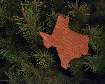 Texas // Leather Ornament // Home Decor // Christmas // Gift Tag // State