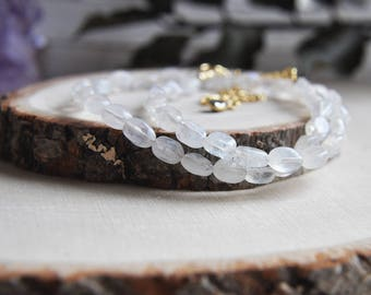 Moonstone Necklace, Moonstone Choker, Moonstone Jewelry, Moonstone, Short Necklace, Stone Necklace, Birthstone Necklace, Gifts for Her, Boho