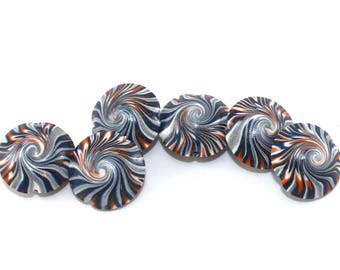 Swirl lentil beads, focal beads in stripes pattern, elegant beads in black, white, gray and orange, Jewelry supplies, set of 6