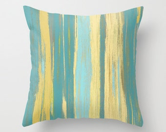 Yellow Teal Throw Pillow Cover Abstract Ombre Modern Home Decor Living room bedroom accessories Cushion Decorative Pillow Cover