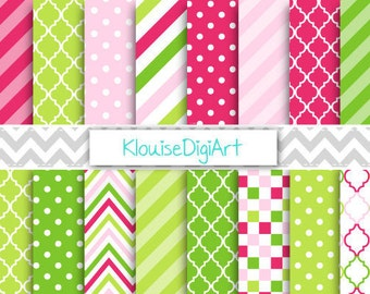 Strawberry Pink and Green Digital Paper Pack with Stripes, Chevron and Quatrefoil for Personal and Small Commercial Use (0154)