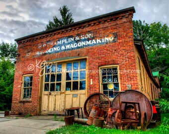 Wagon House Fine Art Photography, Architecture, Old Brick Wagon Making Building in Cold Spring, NY