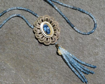 Tassel Necklace,Vintage Theodor Fahrner,Repurposed Brooch,Blue Topaz Jewelry,Blue Gemstone Tassel Necklace,Aquamarine Jewelry,Deco Jewelry