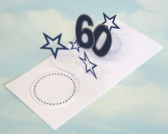 60th Birthday Card Spiral Pop Up 3D - Blue Stars – 60th Birthday Spiral Pop Up Card - PopUp Card