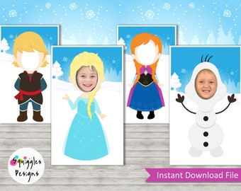 Frozen Photo Booth Props (includes Elsa, Anna, Olaf, Kristoff) - Digital Files