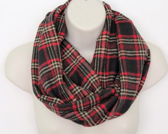 black and red plaid infinity scarf, flannel Infinity Scarf -Circle Scarf -plaid Loop Scarf, Eternity Scarf, Fall Scarf, Winter Scarf