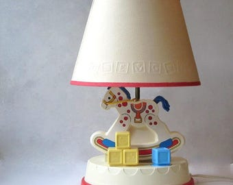 Fisher Price Rocking Horse Lamp Musical Nursery Night Light Childrens Room  Accent Light With ABC Shade
