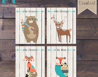 INSTANT DOWNLOAD - Woodland Nursery Prints - Be Brave Be Strong Be Clever Be Wise - Printable Digital File