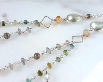 Long Gemstone Necklace Labradorite Tourmaline Green Amethyst Smokey Quartz Double Strand Layered Chain Boho Necklace Fine Jewelry Life Bijou