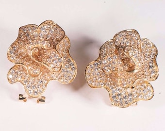 14K Yellow Gold Floral Design Earrings with CZs
