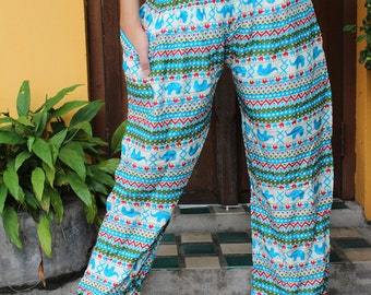 Elephant Bohemian Pants Boho Pants Women High Waist Wide leg Pants
