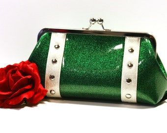 Emerald Green Clutch with Your Choice of Trim, Green Vinyl, Sparkle Vinyl, Rockabilly Bag - MADE TO ORDER