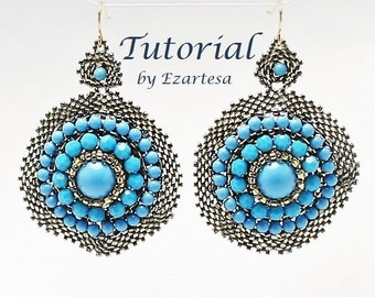 Earrings Tutorial, Statement Circle Peyote Beaded Seed Bead Earring Pattern with Swarovsky Turquoise Crystal Pearls and Faceted Crystals