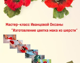 Tutorial Manufacturing poppy flower made of wool Tutorial in Russian PDF