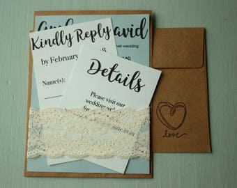 Printed Wedding Invitation Suite with Lace   Customized Wedding Invites with RSVPs, Details Card, and Envelopes