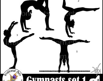 Female Gymnasts Silhouettes 2 sets, 8 png graphics - gymnastics clipart graphics tumbling cheer gymnast [ INSTANT DOWNLOAD ]