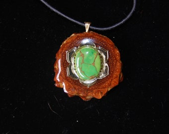 Gold Flower with Green Copper Mojave Torqouise Black Walnut Pendant